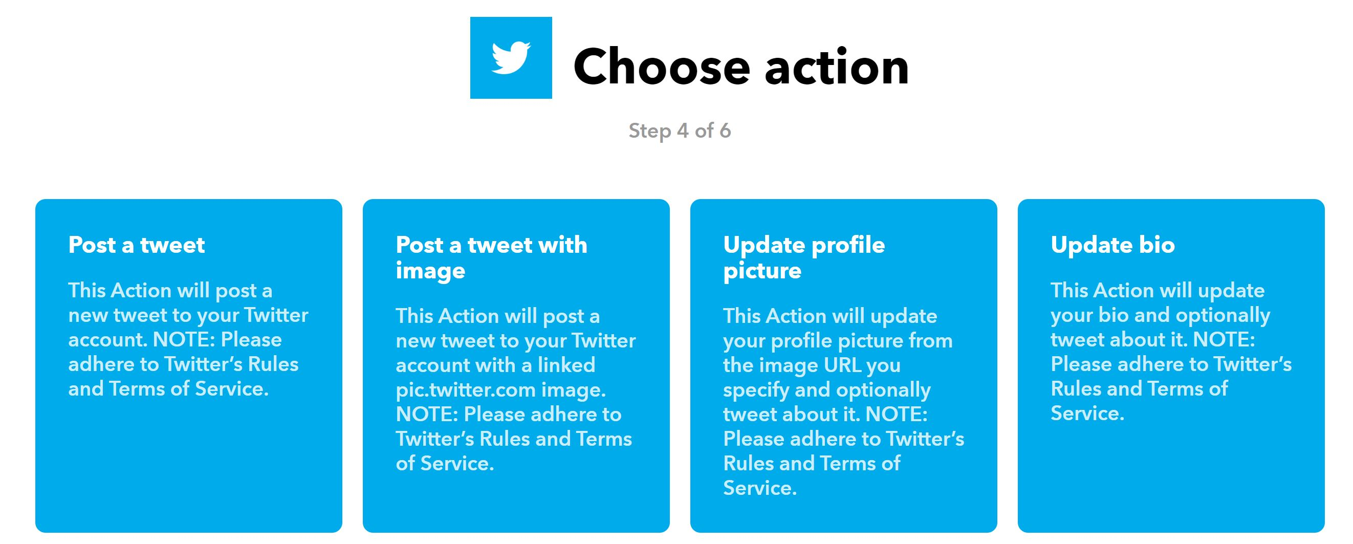 Choose Twitter Action
