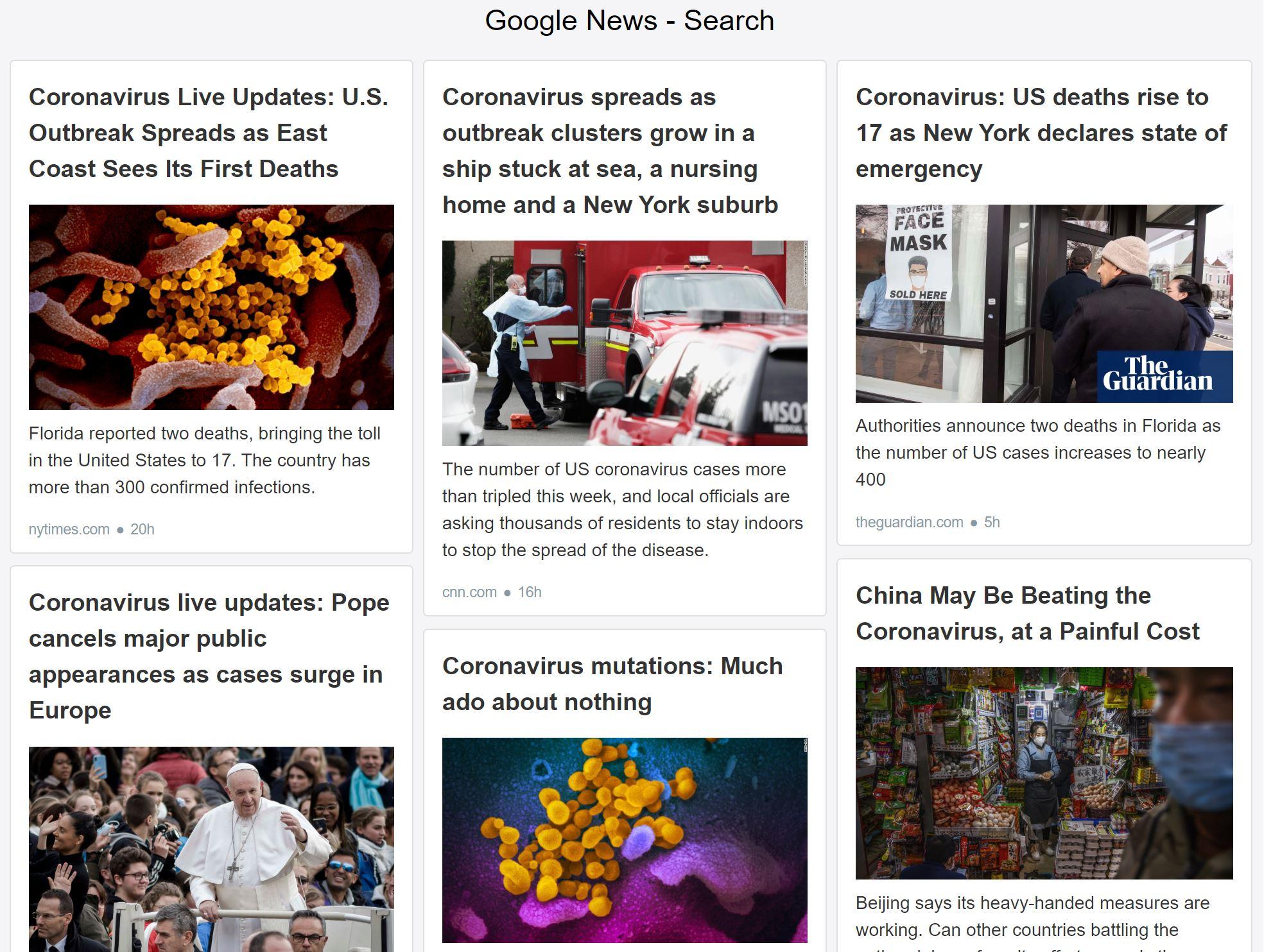 Google News Corona Virus