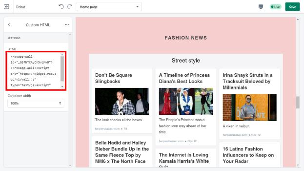 Shopify sidebar online store